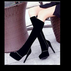 Black knee high boots velvet